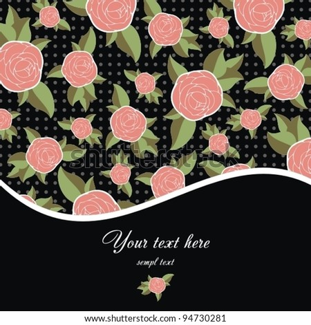 Greeting Card with vintage roses. - stock vector