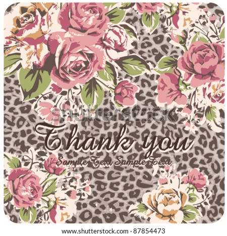 Greeting Card with vintage roses and leopard background - stock vector