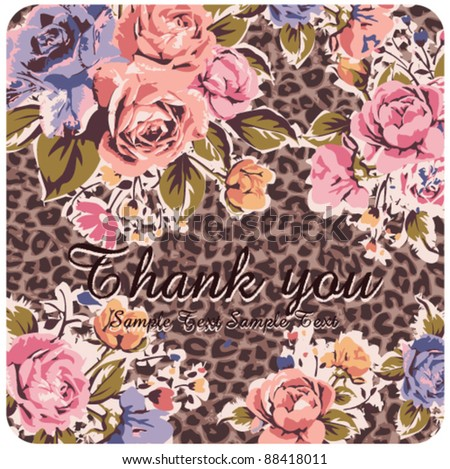 Greeting Card with vintage roses on leopard background - stock vector