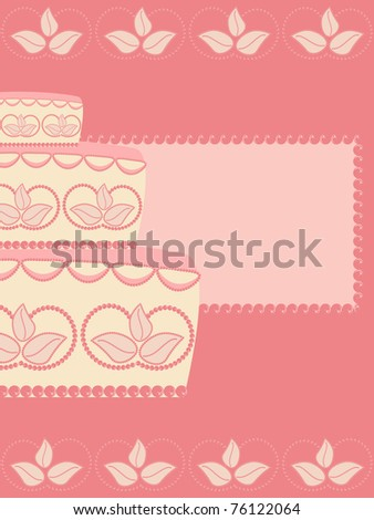 Greeting card with wedding cake pattern - stock vector