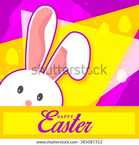 Greeting card with white Easter rabbit.