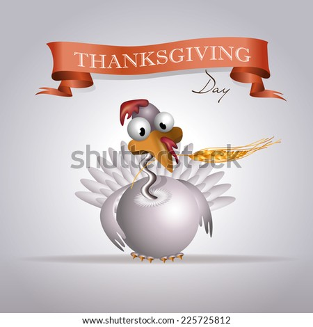 Greeting card with white turkey, holding in its beak an ear of wheat and red ribbon. - stock vector