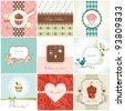 Greeting cards and cupcakes set - stock photo