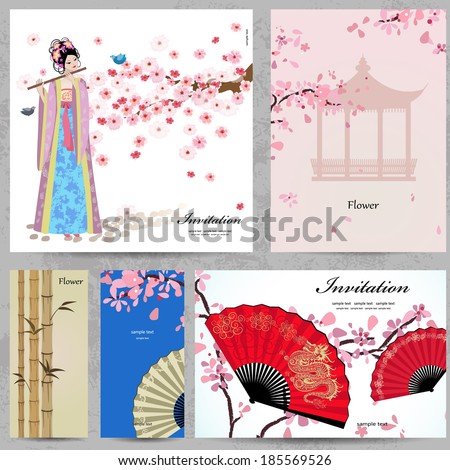 Greeting cards. Beautiful Women of China - stock vector