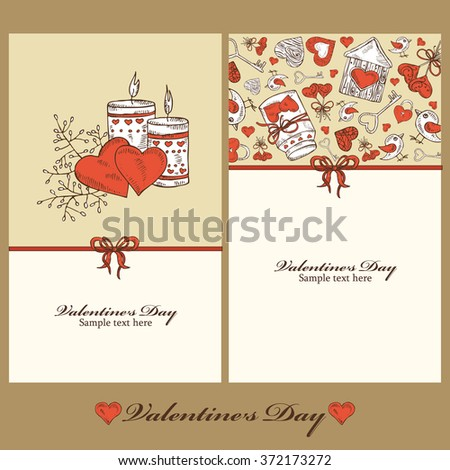 Greeting cards for Valentine's Day with candle , hand drawn