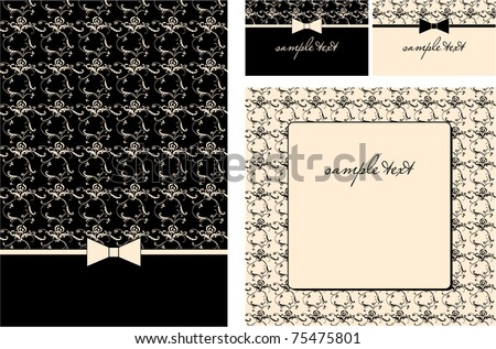 greeting cards set with ornament - invitation for party or wedding. - stock vector