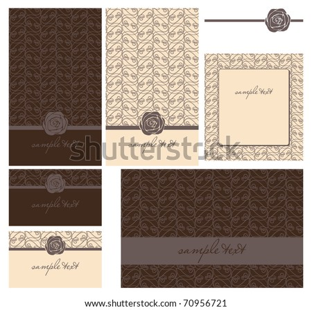 greeting cards set with rose - invitation for party or wedding. - stock vector