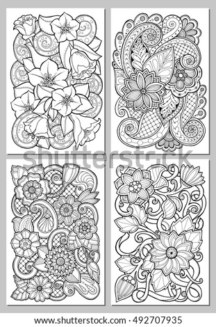Greeting Cards Abstract Flowers Pages Adult Stock Vector 492707935 ...