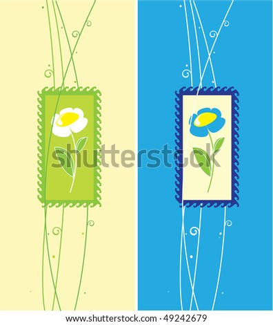 Greeting cards with chamomile - stock vector