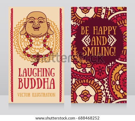 Greeting cards head laughing buddha traditional stock vector greeting cards with head of laughing buddha traditional asian feng shui talisman hotei or budai m4hsunfo