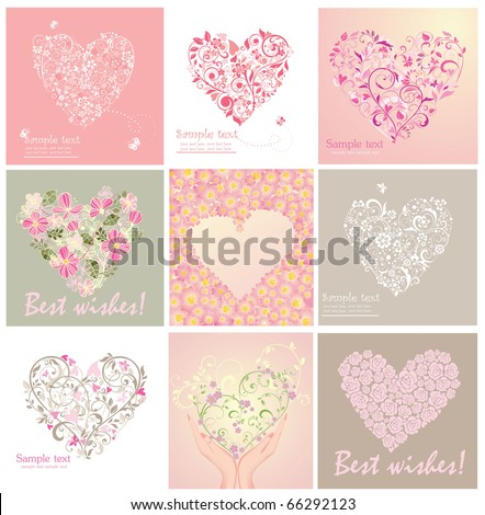 Greeting cards with heart shape - stock vector