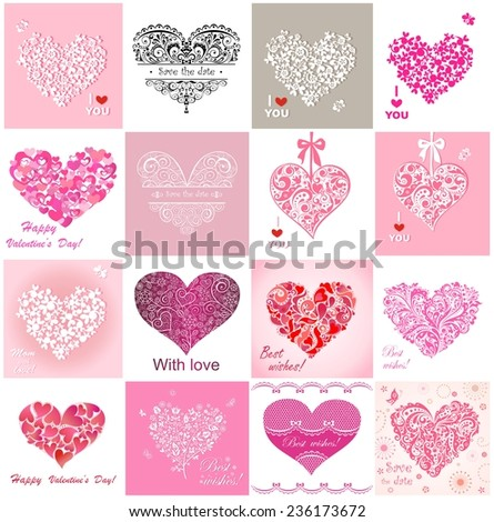 Greeting cards with hearts - stock vector