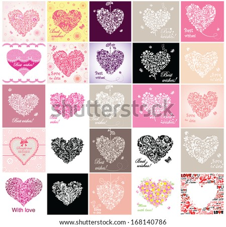 Greeting cards with hearts. Set - stock vector