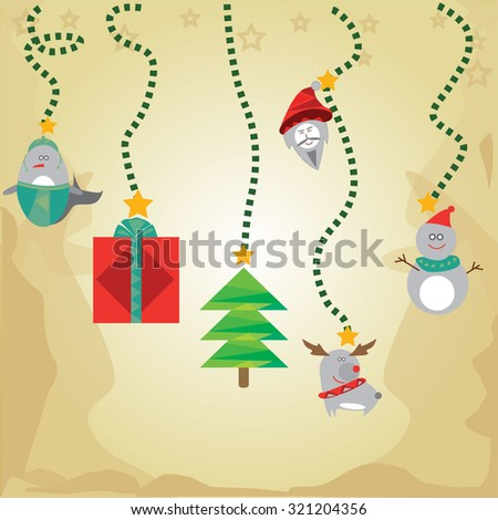 Greeting Christmas and New Year Background - stock vector