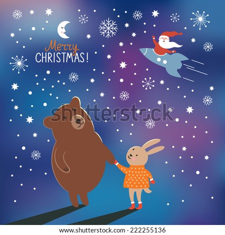 Greeting Christmas card - stock vector