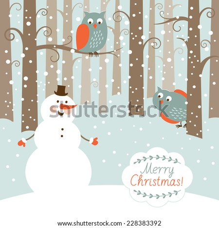 Greeting Christmas card, snowman in the forest  - stock vector