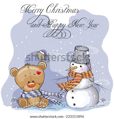 Greeting Christmas card Teddy, Snowman and bird - stock vector