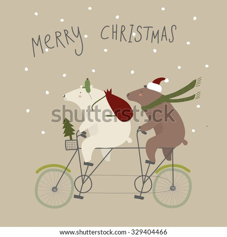 Greeting Christmas card.Two bears are riding a Bicycle to give gifts at Christmas. Vector illustration. - stock vector
