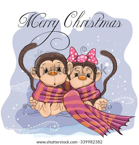 Greeting Christmas card two Monkeys wrap up in a scarf - stock vector