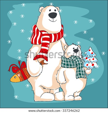 Greeting Christmas card.Two polar bears with presents. - stock vector