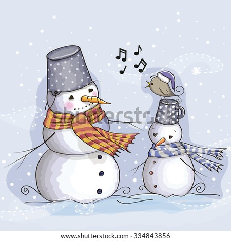 Greeting Christmas card two Snowman and a bird - stock vector