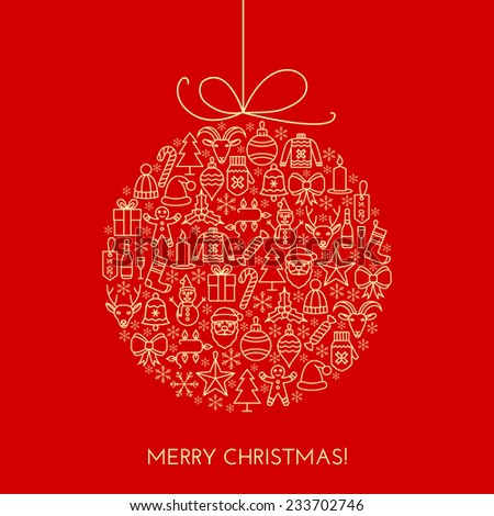 Christmas Cards Outline Greeting Christmas Card With