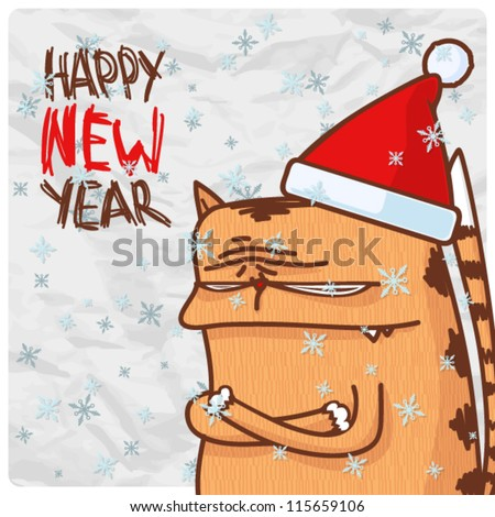 Greeting christmas card with funny kitty character. Vector illustration - stock vector