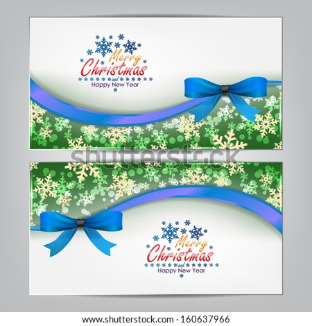 Greeting Christmas cards with blue bows and copy space. (EPS10 Vector) - stock vector