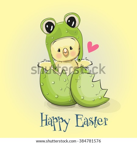 Greeting Easter card Chicken in a frog hat - stock vector