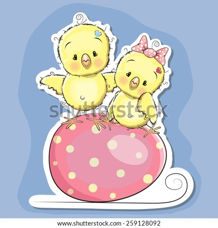 Greeting Easter card Two chickens on the egg - stock vector