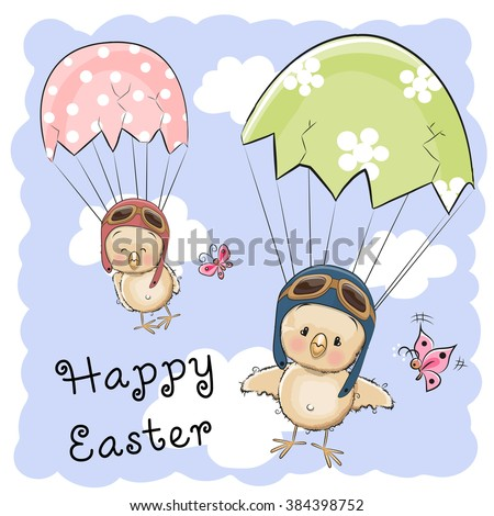 Greeting Easter card Two hatched chicks is flying on parachutes - stock vector