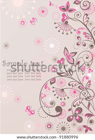 Greeting floral banner - stock vector