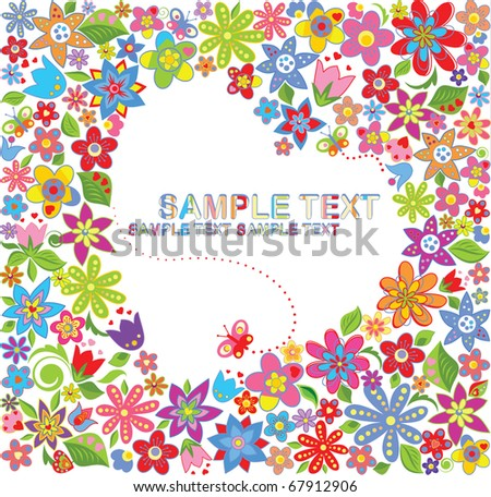 Greeting floral card - stock vector