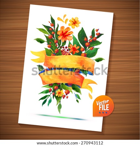 Greeting Floral Vector Watercolor Card, Romantic Greeting with Flower and Ribbon. Flowers with ribbon decorative vector illustration on wood background. Beautiful Greeting Backgrounds For Your Design - stock vector