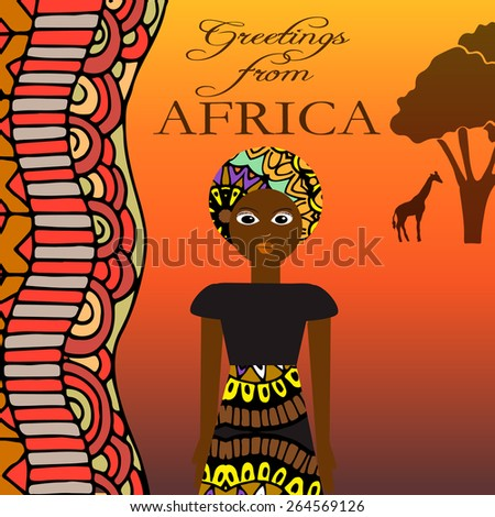 Greeting from Africa - illustration with pretty woman, african ornaments and elements.  - stock vector
