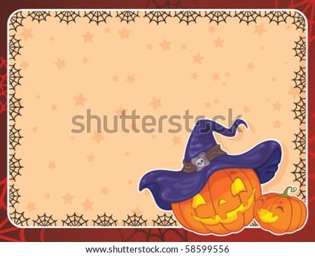 Greeting Halloween card with pumpkins - stock vector
