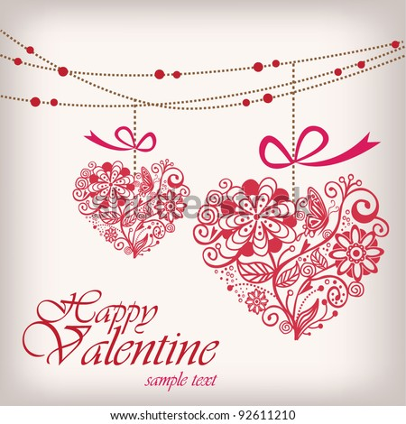 Greeting hanging heart - stock vector