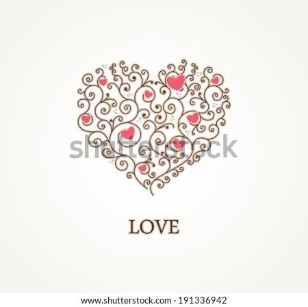 Greeting heart shape - stock vector