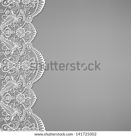 Greeting, invitation card with lace and floral ornaments - stock vector