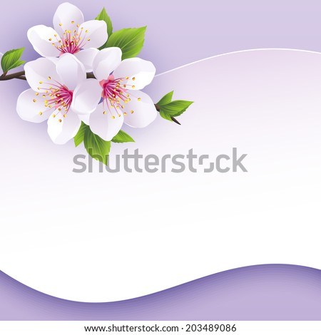 Greeting or invitation card with branch of sakura. Beautiful abstract background purple with place for text. Stylish vector wallpaper. Vector illustration - stock vector