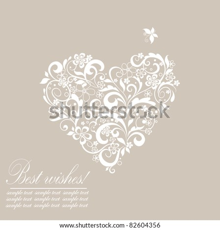 Greeting pastel card with heart shape - stock vector