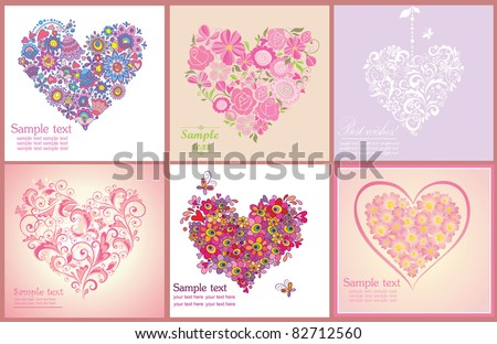Greeting postcard with flowers hearts shapes - stock vector