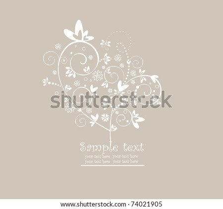 Greeting postcard with tree - stock vector