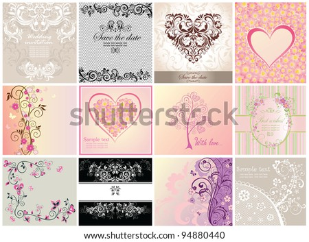 Greeting postcards - stock vector