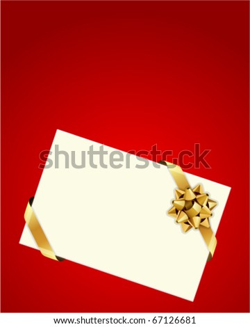 Greeting red card with gold bow - stock vector