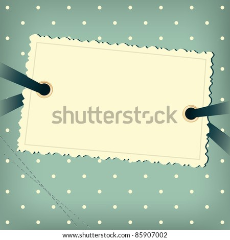 Greeting scrap retro background with empty photo blank. - stock vector