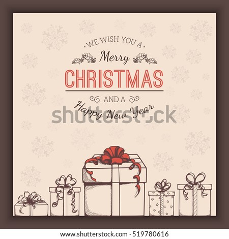 Greeting text and sketch decorations. Christmas and New year card template. Vector vintage background.
