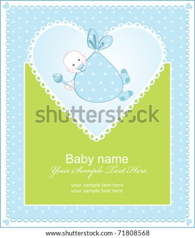 greeting the birth of a boy with a heart