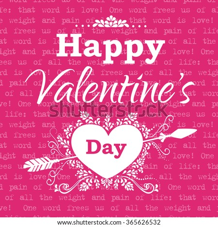 Greeting Valentine's Day card. Vector illustration - stock vector