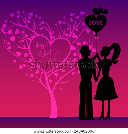 Greeting Valentines day card with tree of hearts, doves and couple that hold balloon with love - stock vector